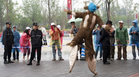 CHENGDU - MAY 29: French dancer disguised as kangaroo performs in the 3rd International Festival of the Intangible Cultural Heritage.May 29, 20011 in Chengdu, China.
