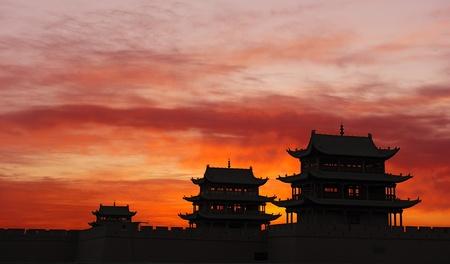 jiayuguan pass tower: Sunrise of the Jiayuguan Pass Tower in GanSu,China Editorial