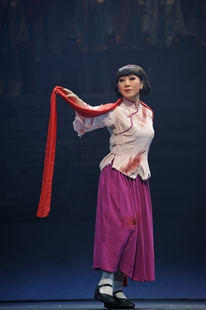 elegancy: CHENGDU - JUN 7: Chinese Yue opera performer make a show on stage to compete for awards in 25th Chinese Drama Plum Blossom Award competition at Shengge theater.Jun 7, 2011 in Chengdu, China. Chinese Drama Plum Blossom Award is the highest theatrical award