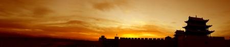 Sunrise of the Jiayuguan Pass Tower in GanSu,China Stock Photo - 16233298