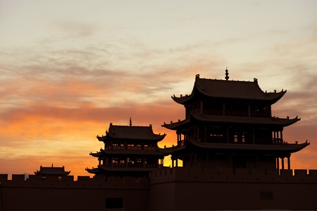unique characteristics: Sunrise of the Jiayuguan Pass Tower in GanSu,China Editorial