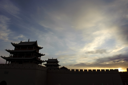 Sunrise of the Jiayuguan Pass Tower Stock Photo - 16782535
