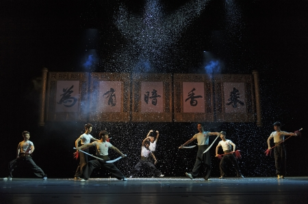 CHENGDU - JUN 7: Chinese Yue opera performer make a show on stage to compete for awards in 25th Chinese Drama Plum Blossom Award competition at Shengge theater.Jun 7, 2011 in Chengdu, China. Chinese Drama Plum Blossom Award is the highest theatrical award