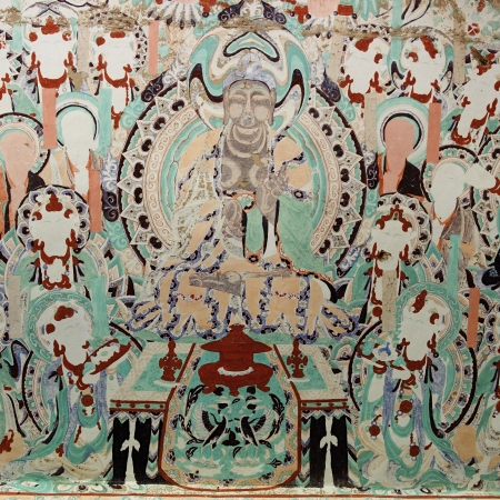 ancient relics: The frescos in the Mogao Grottoes of Dunhuang Stock Photo