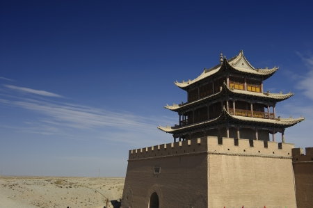 ancient relics: Jiayuguan Pass Tower on the Gobi Desert in GanSu,China