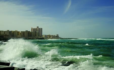 billow: billow of Mediterranean Sea beside Alexandria Stock Photo