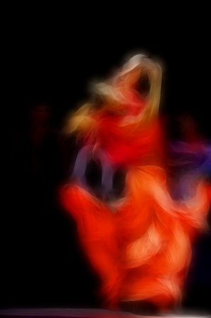 paso doble: abstract artistic picture of flamenco dancer Stock Photo