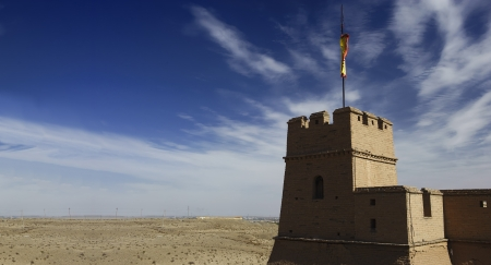Jiayuguan Pass Tower on the Gobi Desert in GanSu,China Stock Photo - 18683109