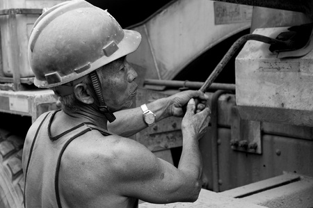hardworking laborer on construction site Stock Photo - 18787333