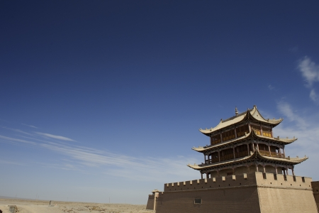 jiayuguan: Jiayuguan Pass Tower on the Gobi Desert in GanSu,China