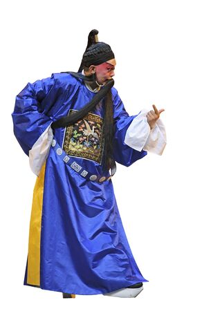 finery: CHENGDU - JUN 5: chinese Sichuan opera performer make a show on stage to compete for awards in 25th Chinese Drama Plum Blossom Award competition at Chongzhou theater.Jun 5, 2011 in Chengdu, China. Chinese Drama Plum Blossom Award is the highest theatrical