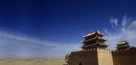 jiayuguan pass tower: Jiayuguan Pass Tower on the Gobi Desert in GanSu,China