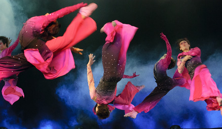 CHENGDU - DEC 14: modern jumping dancers performed by Nanjing Arts Institute at Golden theater in the 7th national dance competition of china on DEC 14,2007 in Chengdu, China.