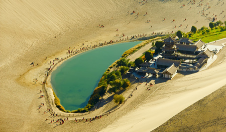 crescent lake: The Crescent Spring in Dunhuang,China,take photo by plane