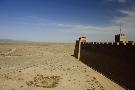 jiayuguan pass tower: The Jiayuguan Fort in the Gobi Desert in GanSu,China Stock Photo