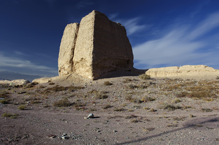 jiayuguan: The Second Pier of Great Wall in the Gobi desert in Jiayuguan city,china Stock Photo