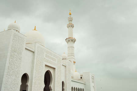 white marble: Grand Mosque with white marble Stock Photo