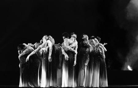 CHENGDU - DEC 14: Chinese modern group dance Plums in Plum Garden performed by Nanjing Arts Institute at Golden theate.DEC 14,2007 in Chengdu, China. Choreographer: Zhang Lifu, etc., actor: 17
