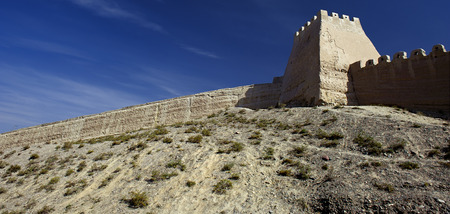 inhospitable: The Great Wall in the Gobi Desert in Jiayuguan city,china