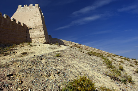 ancient relics: The Great Wall in the Gobi Desert in Jiayuguan city china Stock Photo