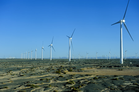 gobi: new energy source of wind power windmills in the wide Gobi Desert