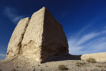 ancient relics: The Second Pier of Great Wall in the Gobi desert in Jiayuguan city, China