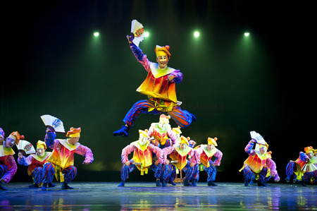 CHENGDU - APR 11: Deyang Song and Dance troupe perform group dance Cute Clown at sichuan song and dance theater in the new works for 2013 dance competition in Sichuan.Apr 11,2013 in Chengdu, China.