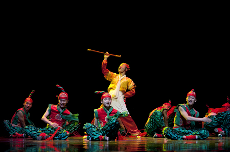 hoofer: CHENGDU - APR 12: Sichuan song and dance troupe perform chinese national dance Nine bowl at sichuan song and dance theater in the new works for 2013 dance competition in Sichuan.Apr 12,2013 in Chengdu, China. Editorial