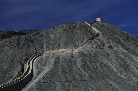 the great wall and the fall: The Great Wall in Jiayuguan city,china