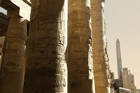 obelisk stone: grand columns in Karnak temple in Luxor,Egypt
