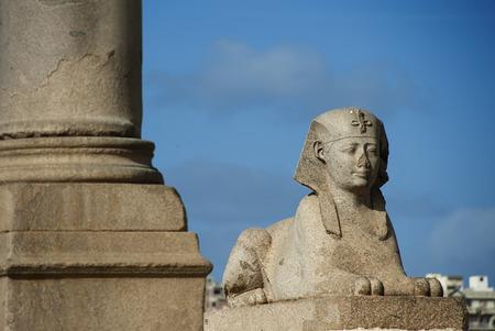 sphinx: sphinx of Pompeys Pillar area in Alexandria Stock Photo