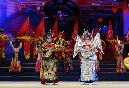 chinese opera: CHENGDU - Jun 10: chinese opera actor perform on stage at Jincheng theater.Jun 10, 2011 in Chengdu, China.