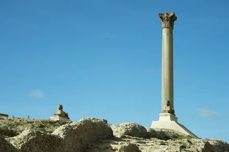 alexandria: ancient ruins Pompeys Pillar of Alexandria