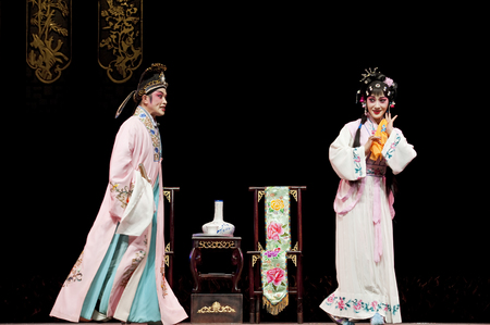 elegancy: chinese traditional opera actor with theatrical costume Stock Photo
