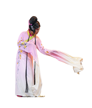 elegancy: CHENGDU - JUN 4: chinese Sichuan opera performer make a show on stage to compete for awards in 25th Chinese Drama Plum Blossom Award competition at Xinan theater Editorial