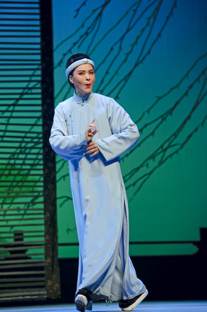 CHENGDU - JUN 3: chinese Yue opera performer make a show on stage to compete for awards in 25th Chinese Drama Plum Blossom Award competition at Experimental theater.