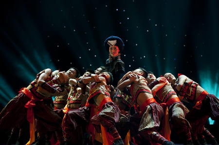 CHENGDU - MAY 14: chinese national dancers perform on stage at Jincheng theater.May 14, 2015 in Chengdu, China.
