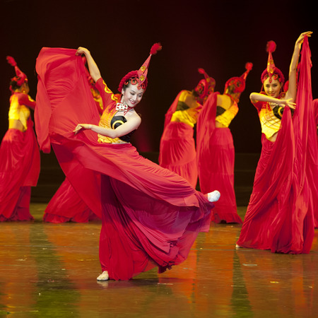 CHENGDU - APR 13, 2013: Sichuan song and dance troupe perform chinese national dance Fire Beauty at sichuan song and dance theater in the new works for 2013 dance competition in Sichuan.