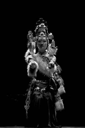 fervor: CHENGDU - SEP 28, 2010: chinese Tibetan ethnic dancer performs on stage in the 6th Sichuan minority nationality culture festival at JINJIANG theater.
