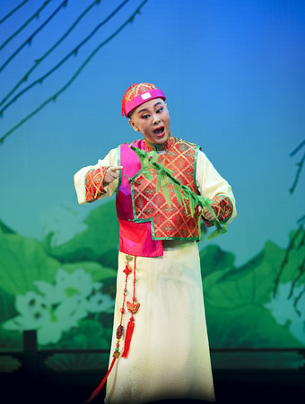 CHENGDU - JUN 3, 2011: chinese Yue opera performer make a show on stage to compete for awards in 25th Chinese Drama Plum Blossom Award competition at Experimental theater.