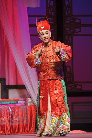 elegancy: CHENGDU - JUN 3: chinese Yue opera performer make a show on stage to compete for awards in 25th Chinese Drama Plum Blossom Award competition at Experimental theater.Jun 3, 2011 in Chengdu, China. Chinese Drama Plum Blossom Award is the highest theatrical  Editorial