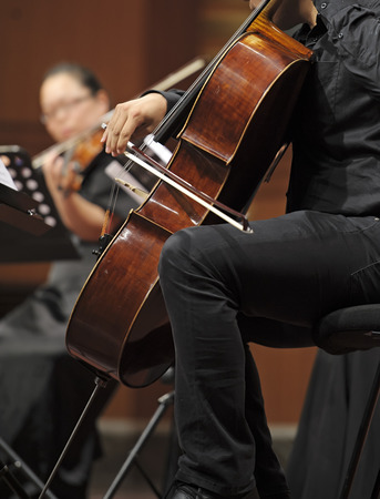 double reed: CHENGDU - JUN 20: violoncellist perform on wind music chamber music concert at odeum of Sichuan Conservatory of Music on Jun 20,2012 in Chengdu,China.