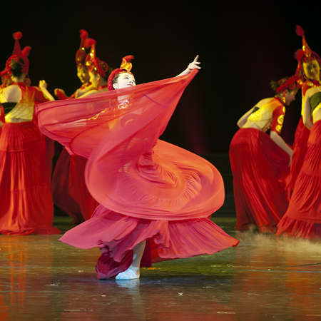 hoofer: CHENGDU - APR 13: Sichuan song and dance troupe perform chinese national dance Fire Beauty at sichuan song and dance theater in the new works for 2013 dance competition in Sichuan.Apr 13,2013 in Chengdu, China.