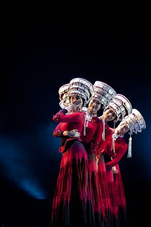 hoofer: CHENGDU - MAY 14: chinese national dancers perform on stage at Jincheng theater.May 14, 2015 in Chengdu, China.
