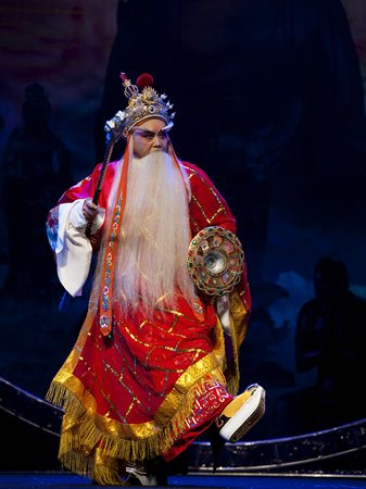 exaggerate: CHENGDU - OCT 19: chinese traditional opera actor performs on stage at Sichuan opera theater.Oct 19, 2014 in Chengdu, China.