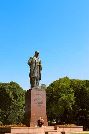 national poet: Monument to great Ukrainian poet Taras Shevchenko. Kyiv National University before  Stock Photo