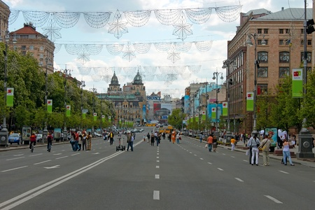 visitors area: Khreshchatyk. The central street of Kyiv capital of Ukraine during the day time. At weekends, this street becomes a pedestrian area for walking residents and visitors alike. Photographed May 15, 2011. Editorial