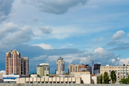 Modern buildings in the central part of the capital of Ukraine Kyiv photo