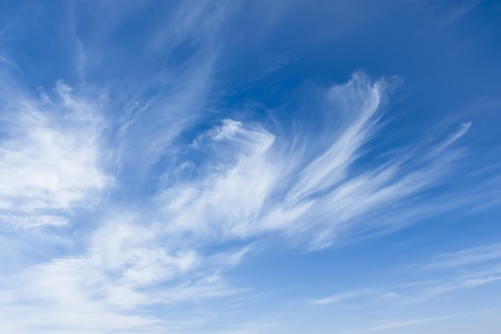 Stratospheric elongated clouds against the background of blue sky photo