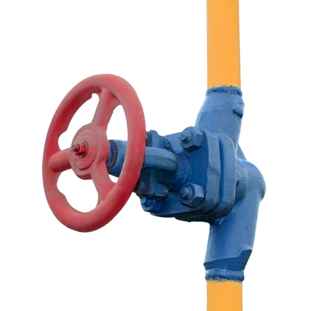 cilindro de gas: La v�lvula de gas en el tubo. Aisladas sobre fondo blanco